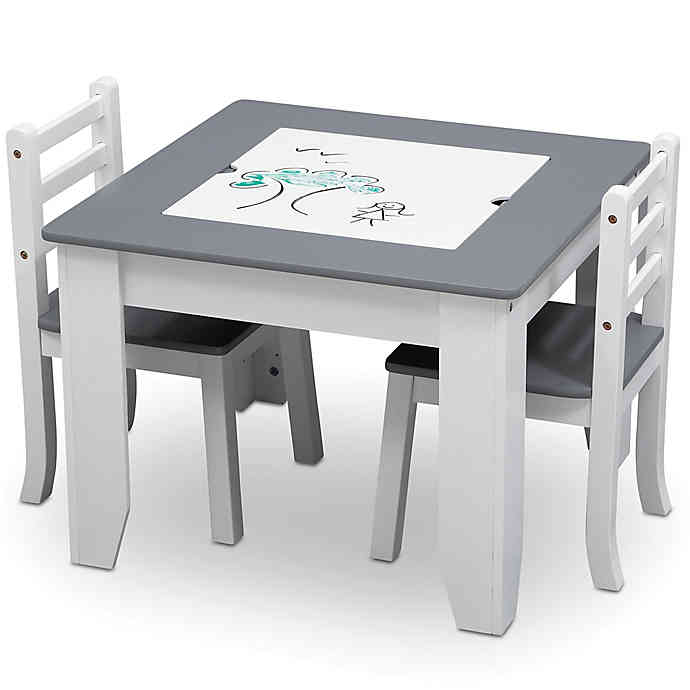 Delta Children Chelsea 3-Piece Table and Chairs Set with Storage .