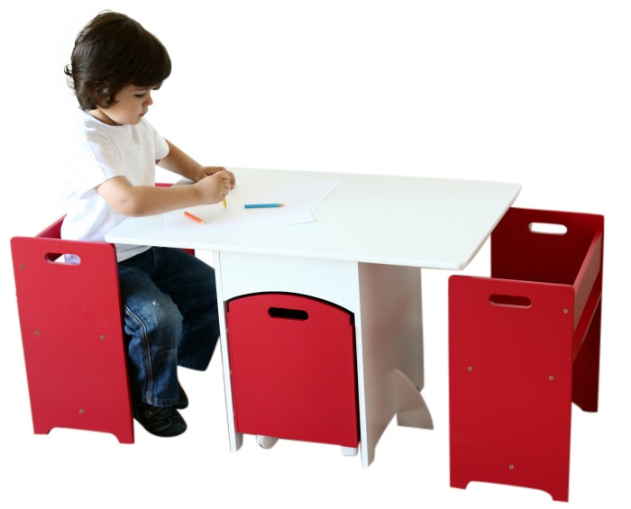 Red And White Used Kids Table And Chairs With Toy Storage Box .