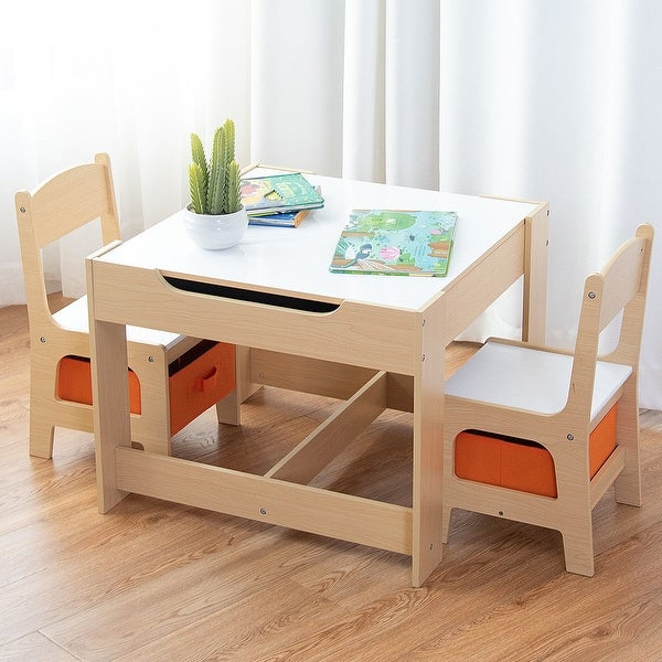 Shop Gymax Children Kids Table Chairs Set With Storage Boxes .