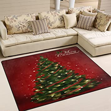 Amazon.com: ALAZA Red Merry Christmas Tree Area Rug Rugs for .