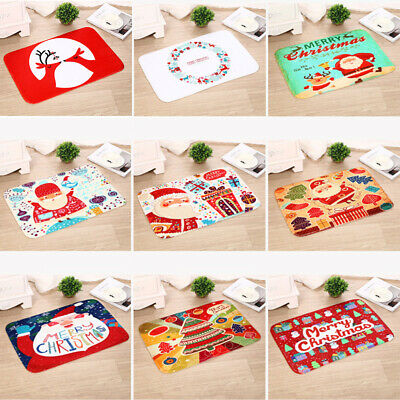 Flannel New Year Floor Mat Merry Christmas Rugs Printed Carpets .