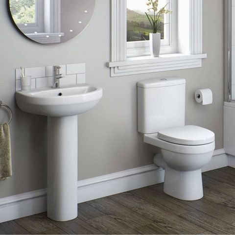 Orchard Eden cloakroom suite with full pedestal basin 550mm .