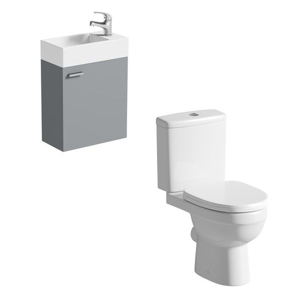 Clarity Compact white and satin grey cloakroom suite with .