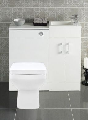White 400 Bathroom Vanity Combination Unit Cloakroom Suite 500 .