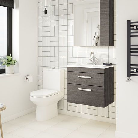 Brooklyn Grey Avola Cloakroom Suite (Wall Hung Vanity + Close .
