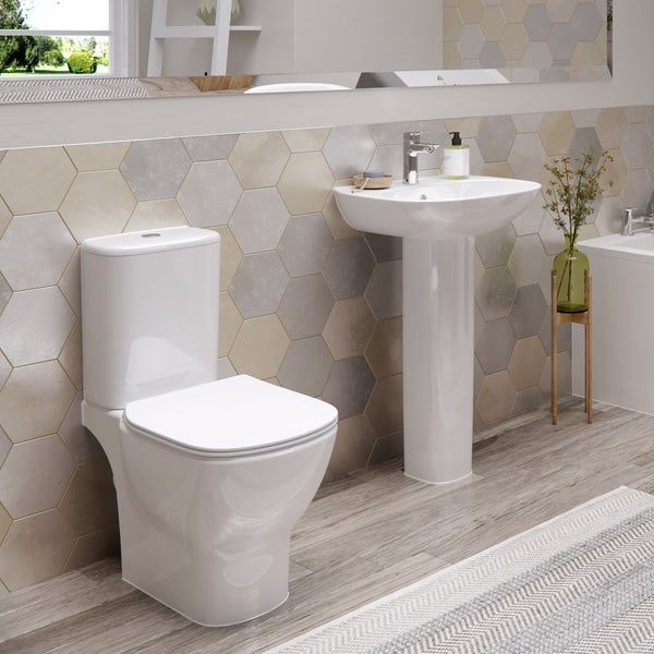Ideal Standard Tesi cloakroom suite with full pedestal basin 450mm .