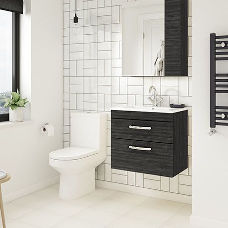 Brooklyn Hacienda Black Cloakroom Suite (Wall Hung Vanity + Toilet .