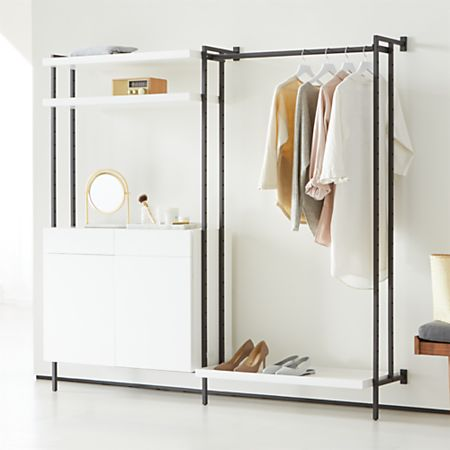 Flex Modular Clothing Rack and Closed Storage Cabinet with Shelves .