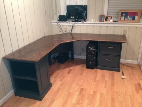 Custom Corner Desk with drawers, pullout keyboard and shelves .