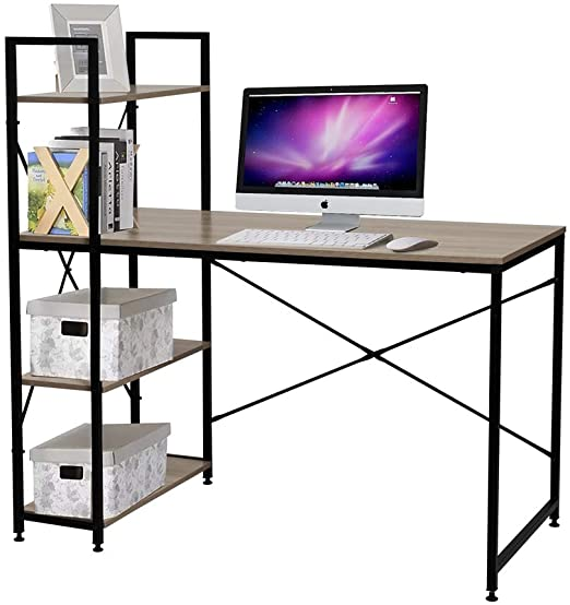 Amazon.com: Bestier Computer Desk with Shelves,Writing Desk with .