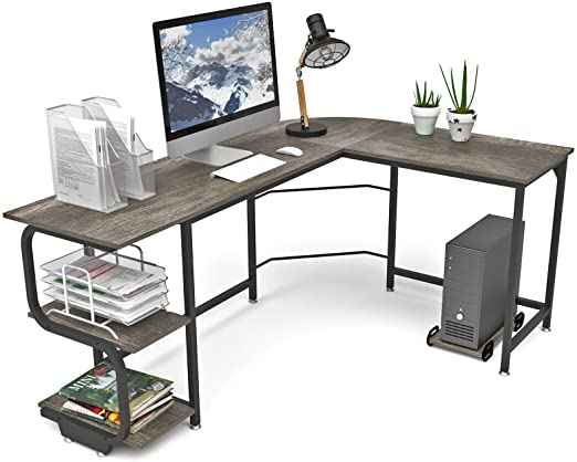 Amazon.com: Teraves Reversible L Shaped Desk with Shelves Round .