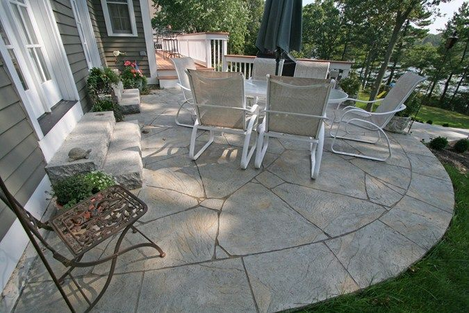 Curved, Flagstone Concrete Patios New England Hardscapes Inc Acton .