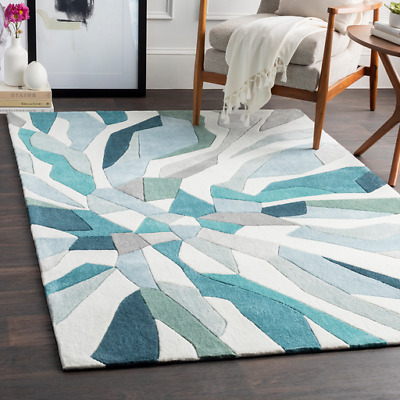 Contemporary Abstract Hand Tufted Carved Teal Blue Area Rug **FREE .