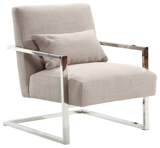 Skyline Modern Accent Chair, Gray Linen and Steel - Contemporary .