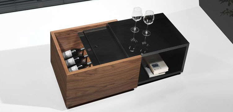 Contemporary coffee table / oak / rectangular / with storage .