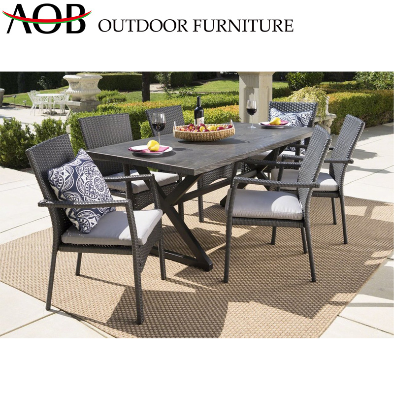 China Contemporary Outdoor Modern 6 Seater Rectangle Dining Table .