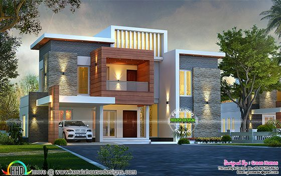 Awesome contemporary style 2750 sq-ft home in 2020 | Kerala house .