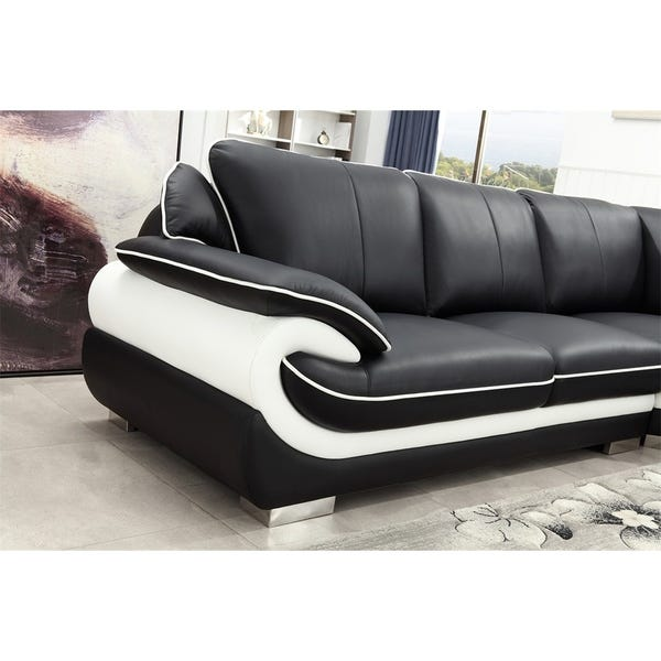 Shop Black and White Modern Contemporary Real Leather Sectional .