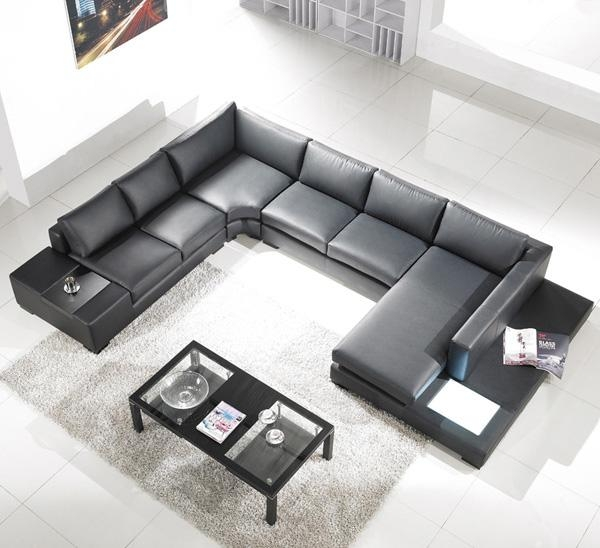 Modern Black Leather Sectional Living Room Furniture TOS-LF-20