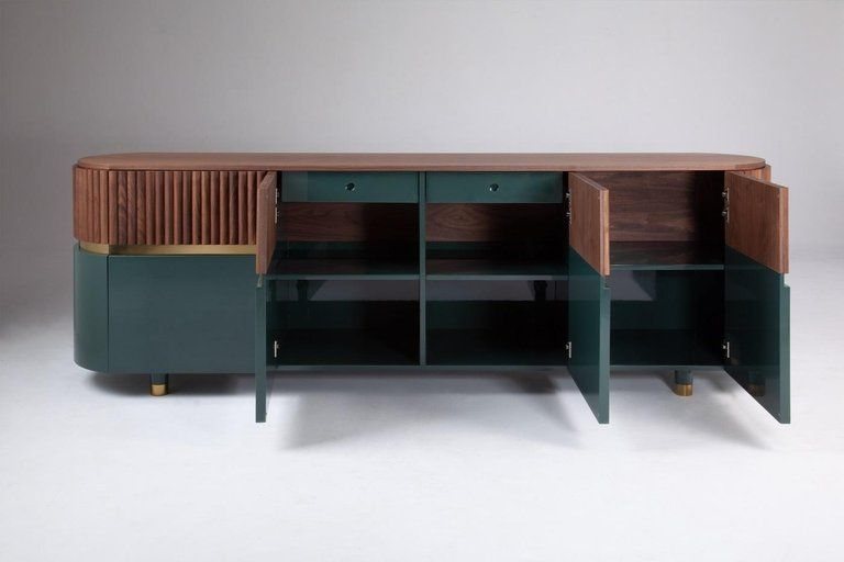 Portuguese London Contemporary Sideboard in Solid Walnut and Brass .