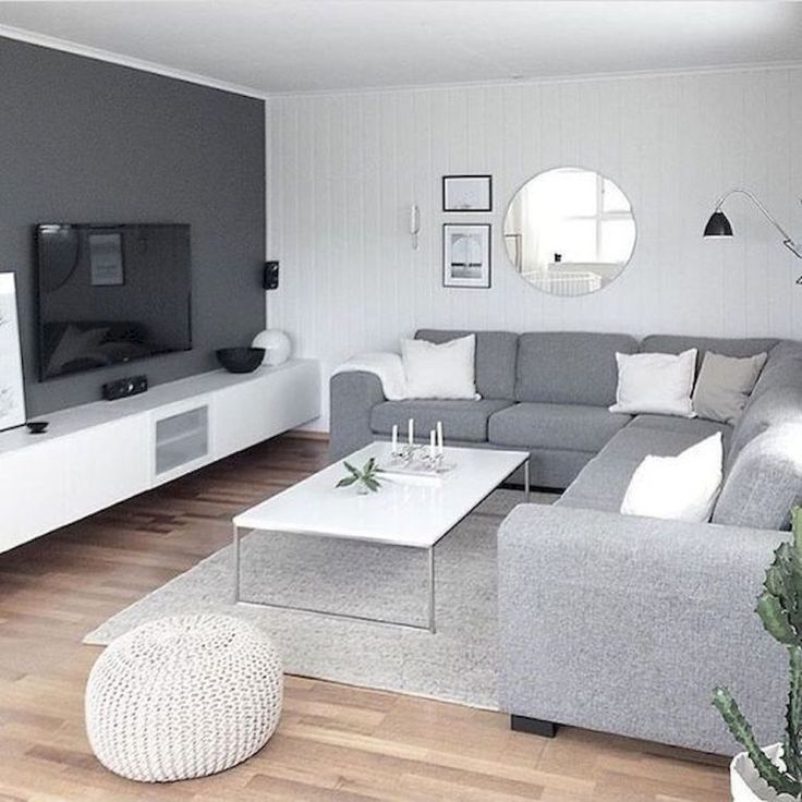 Stylish Grey and White Minimalist Living Room. Contemporary .