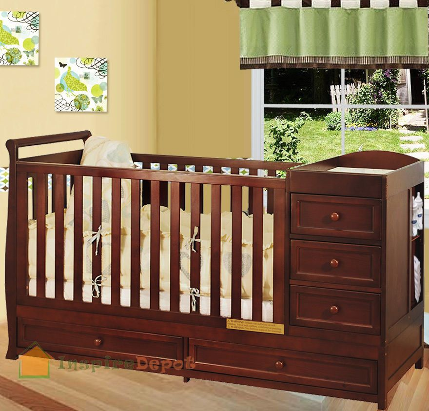 Multi Function Cherry Solid Wooden Baby Crib Combo Dresser .
