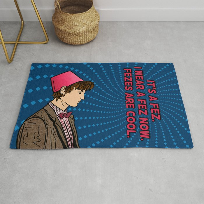 The Eleventh Doctor - Fezes are cool Rug by taserface-   Societ