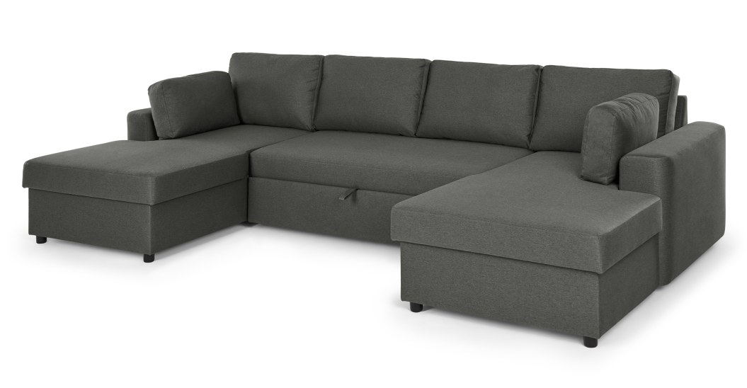 Aidian Large Corner Sofa Bed with Storage, Pigeon Grey | MADE.c