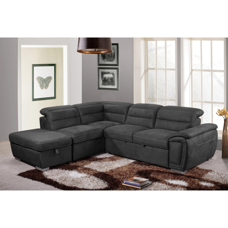 Caistor Fabric Corner Sofa Bed, 3 Seater with Left Handing Facing .