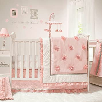 Amazon.com : Arianna 4 Piece Pink Floral Baby Crib Bedding Set by .