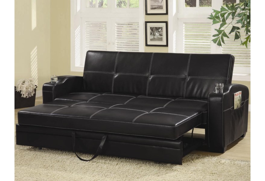 Coaster Sofa Beds and Futons Faux Leather Sofa Bed with Storage .