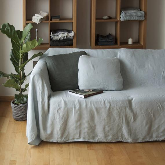 Linen Couch Cover Linen Bedspread Natural Sofa Cover Linen | Et