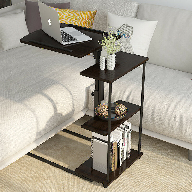 Adjustable Rolling Laptop Stand PC Table Desk Sofa Bedside Tray .
