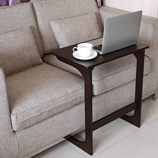 Amazon.com: HOMFA Bamboo Snack Table Sofa Couch Coffee End Table .