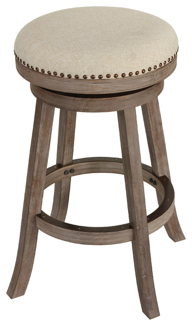 Cortesi Home Piper Backless Swivel Bar Stool, Solid Wood and Beige .