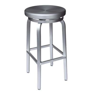$128 each - Brushed Aluminum Navy Backless Bar Stool - Counter .