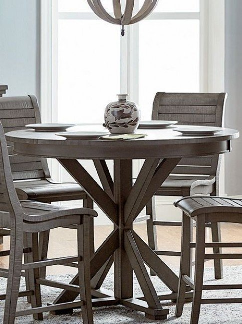 Willow Distressed Dark Gray Round Counter Height Dining Table .