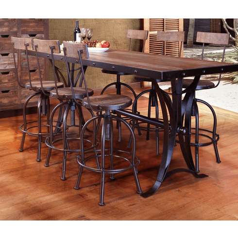 Antique Multicolor Counter Height Dining Table with Iron Ba
