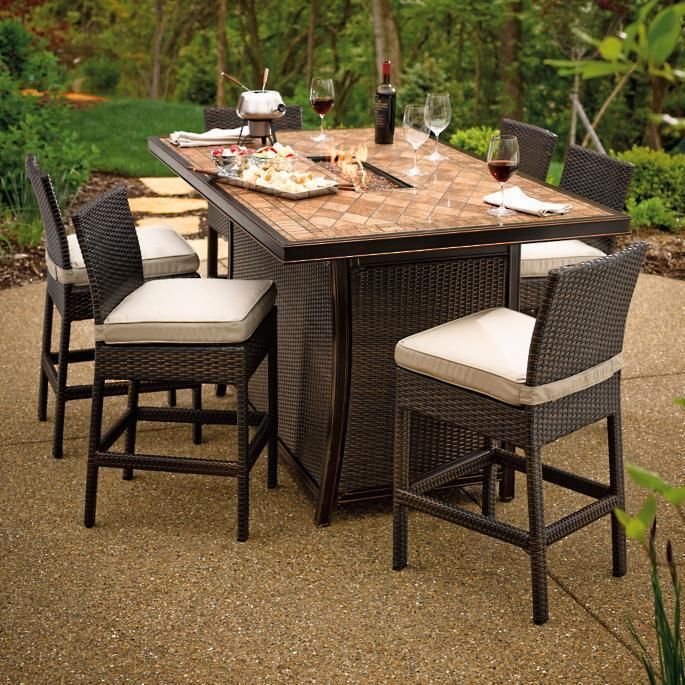 Palermo Counter Height Fire Table Set Fire Pit Surrou