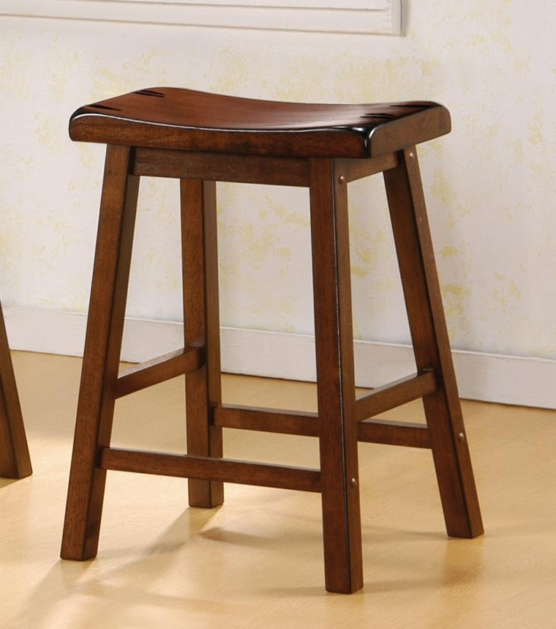 BAR STOOLS: WOOD FIXED HEIGHT - Transitional Chestnut Counter .