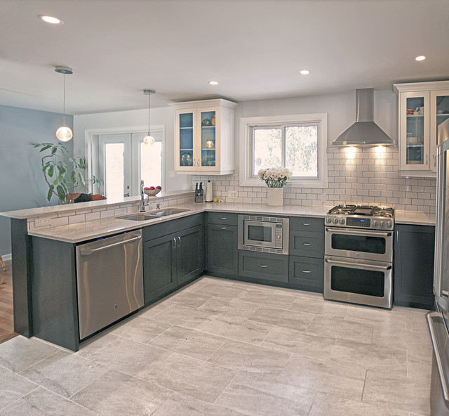 Grey and Cream Contemporary Kitchen with Classic Twist .