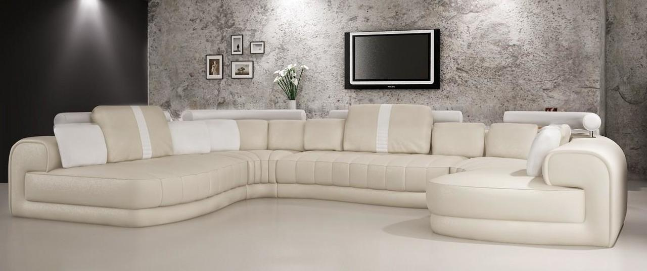 Divani Casa 6129 Modern Cream and White Bonded Leather Sectional .