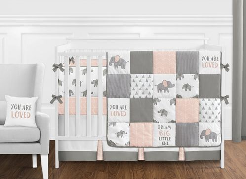 Blush Pink, Grey and White Watercolor Elephant Safari Baby Girl .