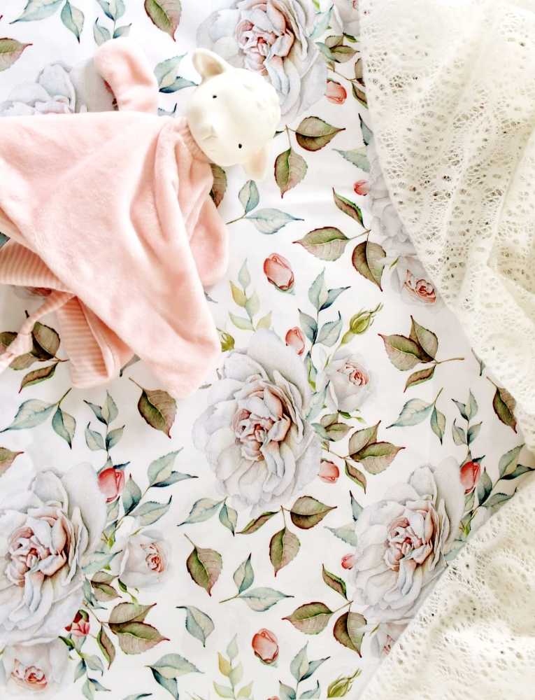 Girls Floral Crib Sheet - Farmhouse Crib Bedding- Lottie Da Ba