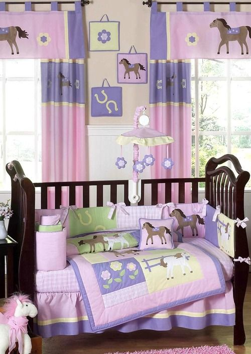Pretty Pink Pony Baby Bedding - 9 Piece Western Girl Horse Crib .