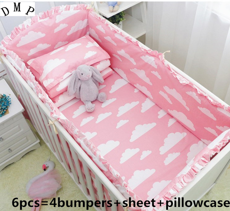 Promotion! 6PCS Crib cot set Girl Baby bedding set bedroom decor .