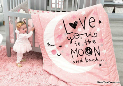 Moon GIRL Pink CRIB SET Bedding Comforter BABY Shower Gift Nursery .