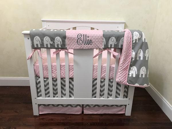 Gray and Pink Elephant Mini Crib Bedding Set - Girl Baby Bedding .