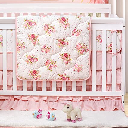 Amazon.com: Brandream Crib Bedding Sets for Girls Blush Floral .