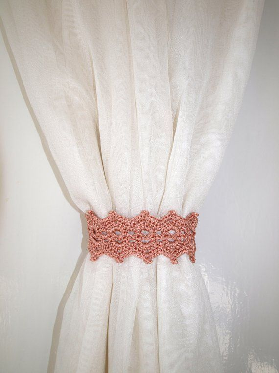 Tan curtain holdback Crochet curtain ties Curtain tie backs .